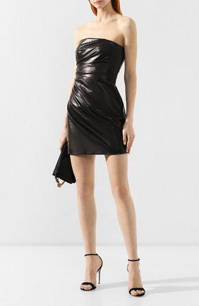 Кожаное платье Versace черное   Фото №2