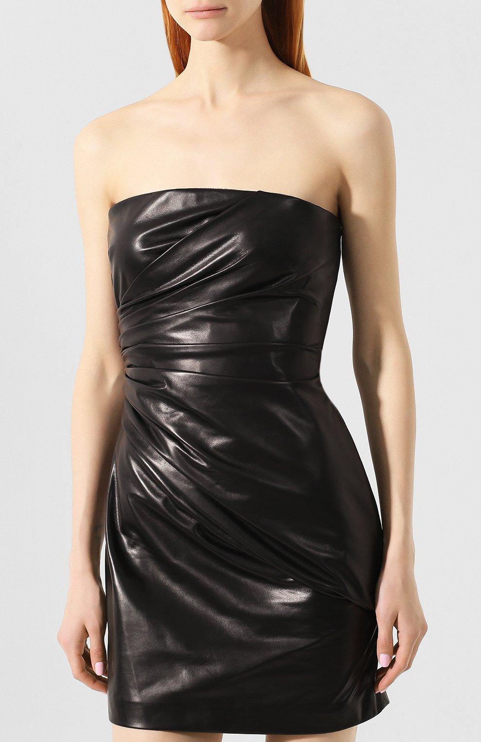 Кожаное платье Versace черное   Фото №3