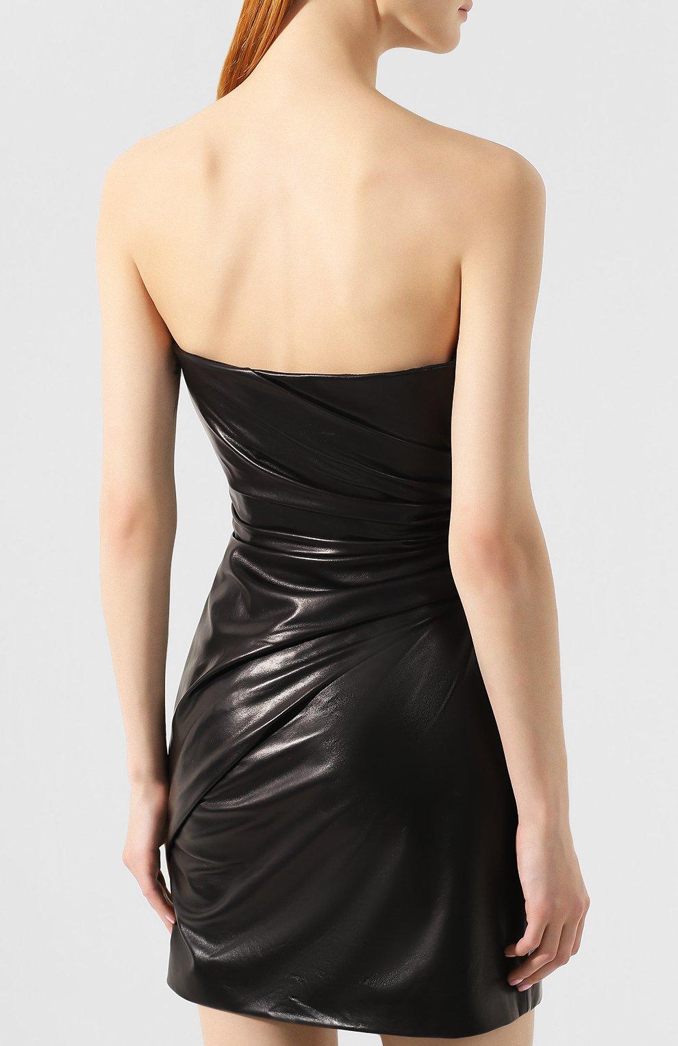 Кожаное платье Versace черное   Фото №4