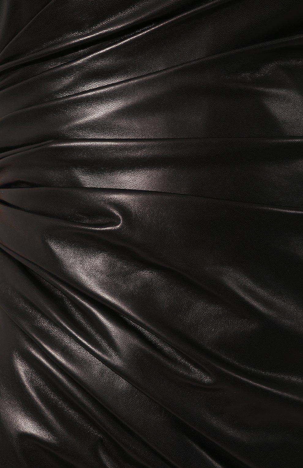 Кожаное платье Versace черное   Фото №5
