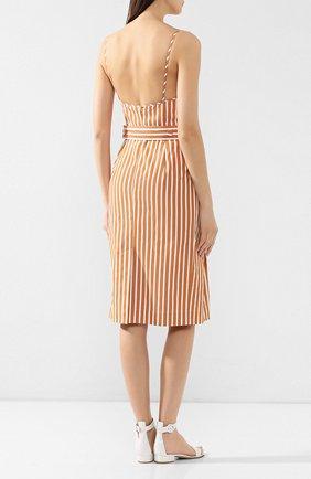 Хлопковое платье Victoria Beckham бежевое | Фото №4