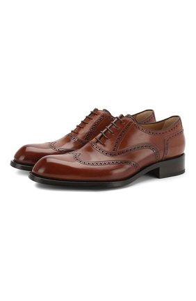 Мужские кожаные оксфорды BRIONI коричневого цвета, арт. QEDS0N/P6757 | Фото 1