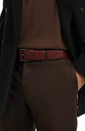 Мужской ремень из кожи аллигатора ZILLI бордового цвета, арт. MJL-CLAQE-01010/0819/115-130/AMIS | Фото 2