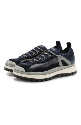 Мужские кожаные кроссовки GIORGIO ARMANI темно-синего цвета, арт. X2X095/XL928   Фото 1