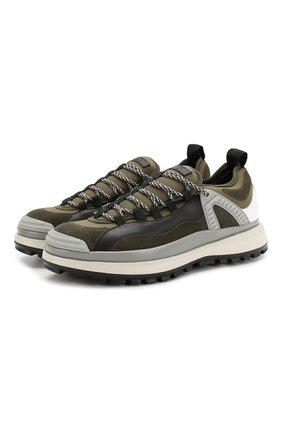Мужские кожаные кроссовки GIORGIO ARMANI хаки цвета, арт. X2X095/XL928 | Фото 1