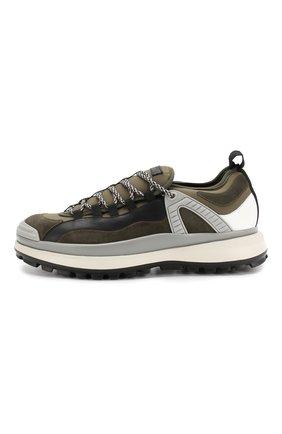 Мужские кожаные кроссовки GIORGIO ARMANI хаки цвета, арт. X2X095/XL928 | Фото 3