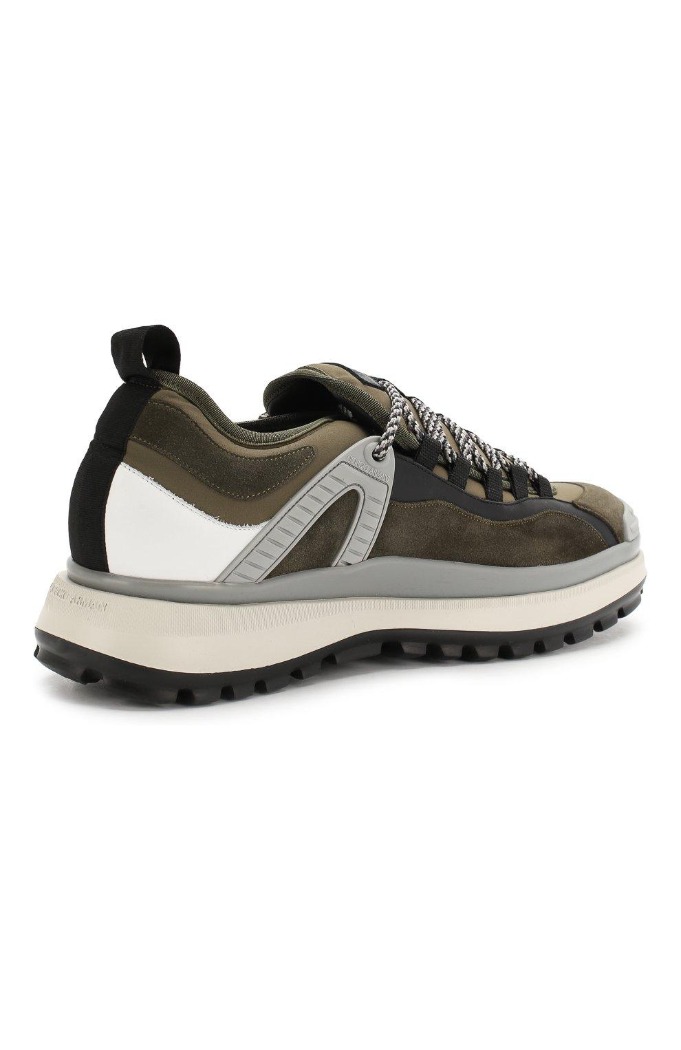 Мужские кожаные кроссовки GIORGIO ARMANI хаки цвета, арт. X2X095/XL928 | Фото 4
