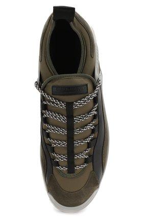 Мужские кожаные кроссовки GIORGIO ARMANI хаки цвета, арт. X2X095/XL928 | Фото 5