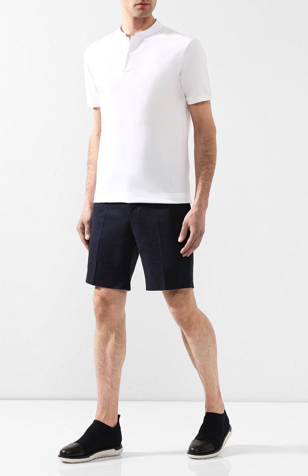 Мужские комбинированные кроссовки GIORGIO ARMANI темно-синего цвета, арт. X2J118/XL907   Фото 2