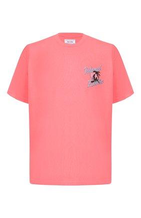 Хлопковая футболка  JUST DON светло-розовая | Фото №1