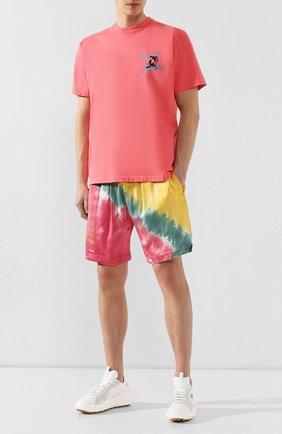Хлопковая футболка  JUST DON светло-розовая | Фото №2