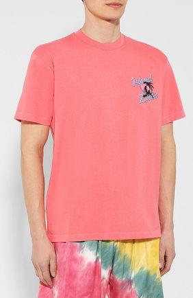 Хлопковая футболка  JUST DON светло-розовая | Фото №3