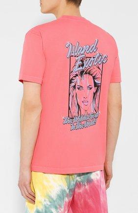 Хлопковая футболка  JUST DON светло-розовая | Фото №4