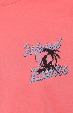 Хлопковая футболка  JUST DON светло-розовая | Фото №5