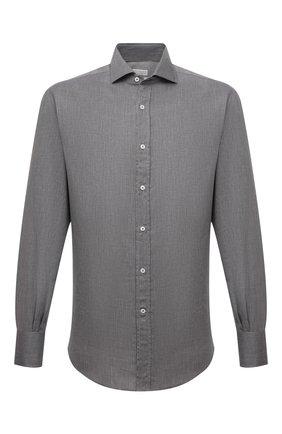Мужская хлопковая рубашка BRUNELLO CUCINELLI серого цвета, арт. MG6710028 | Фото 1