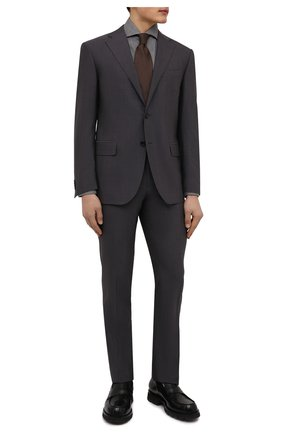 Мужская хлопковая рубашка BRUNELLO CUCINELLI серого цвета, арт. MG6710028 | Фото 2