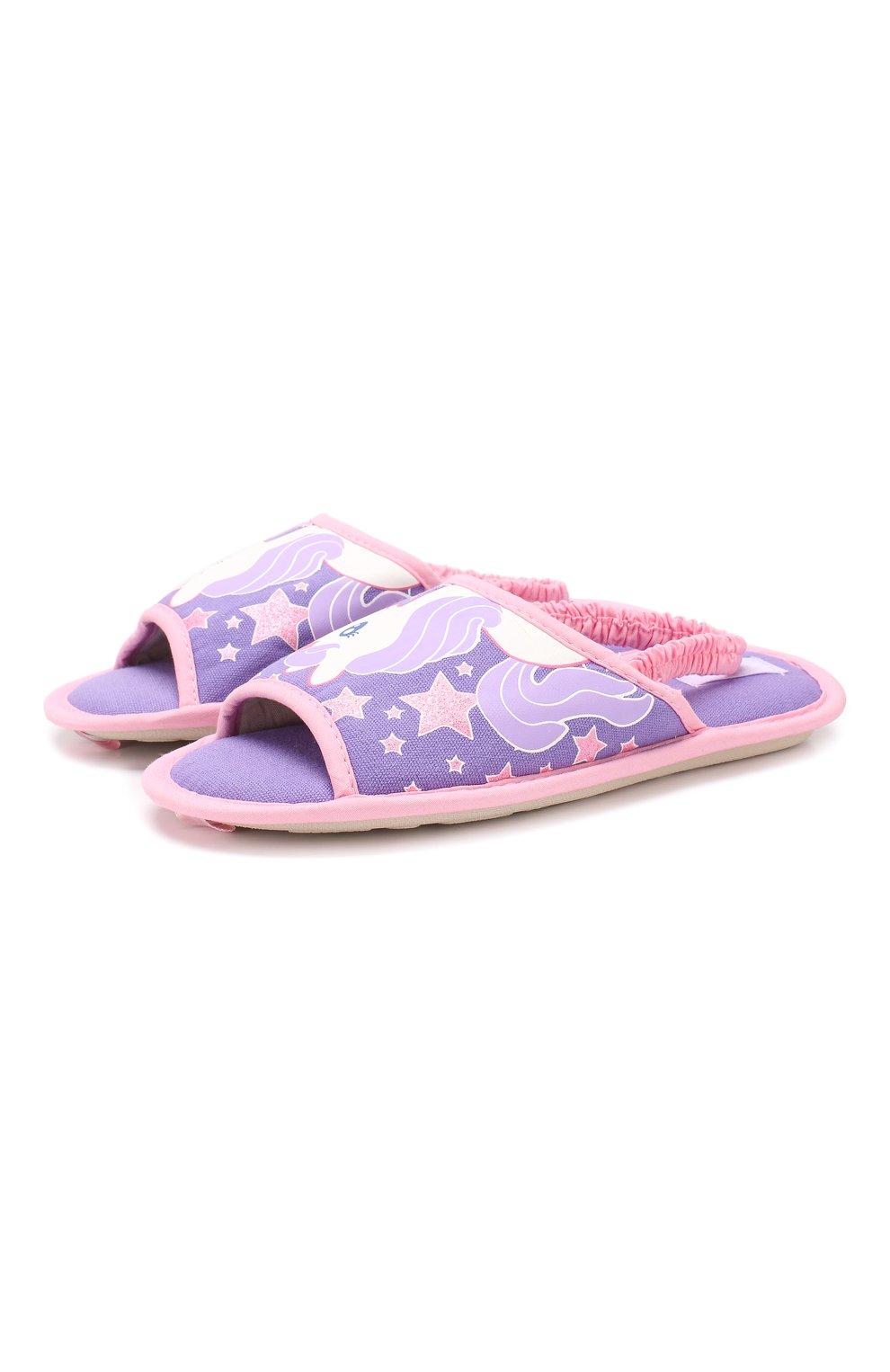 Детского текстильная домашняя обувь DE FONSECA сиреневого цвета, арт. BARI G503RU   Фото 1 (Материал внешний: Текстиль; Кросс-КТ: тапочки; Статус проверки: Проверено, Проверена категория)