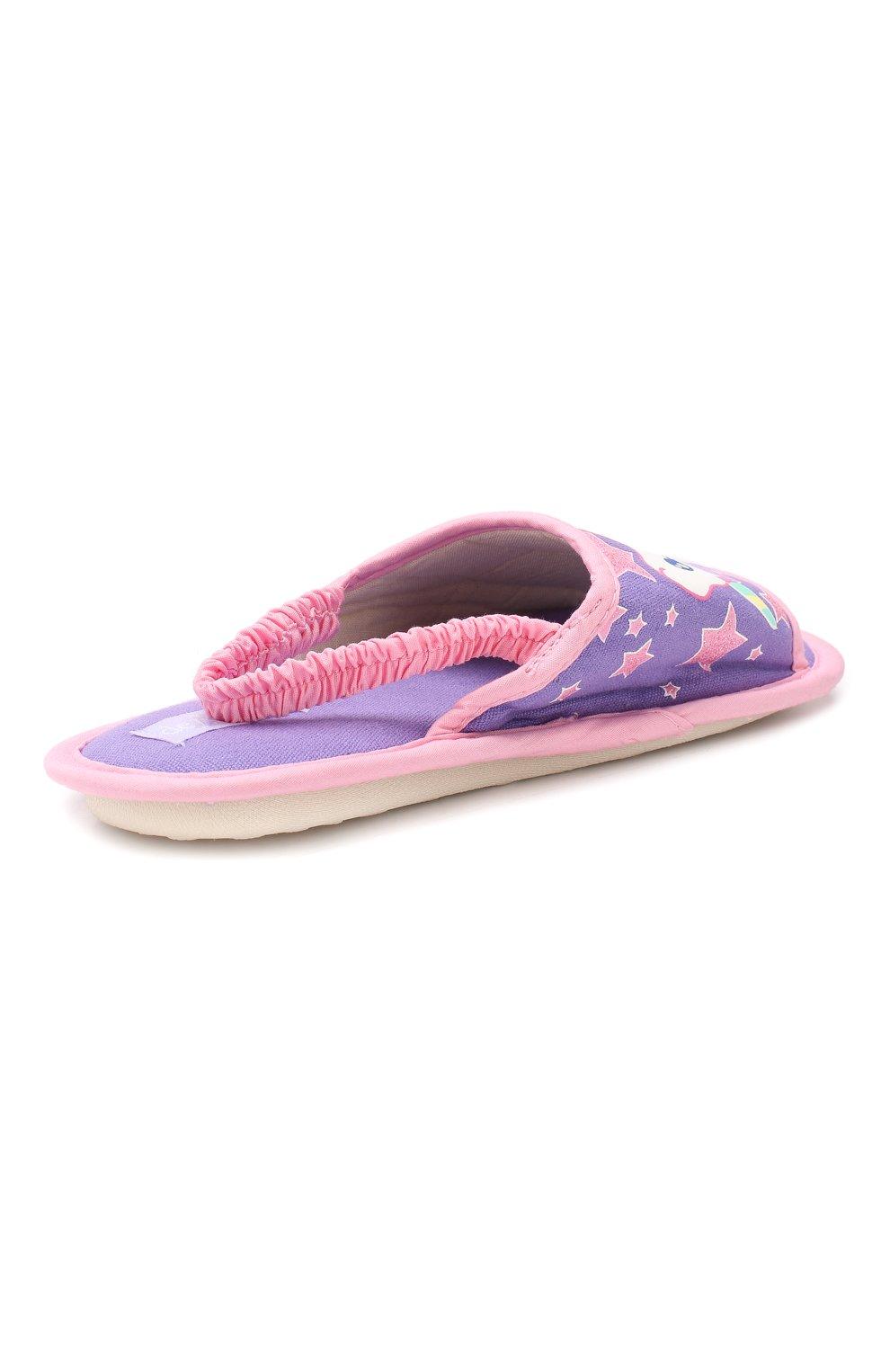 Детского текстильная домашняя обувь DE FONSECA сиреневого цвета, арт. BARI G503RU   Фото 3 (Материал внешний: Текстиль; Кросс-КТ: тапочки; Статус проверки: Проверено, Проверена категория)