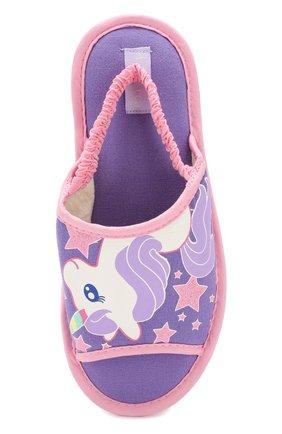 Детского текстильная домашняя обувь DE FONSECA сиреневого цвета, арт. BARI G503RU   Фото 4 (Материал внешний: Текстиль; Кросс-КТ: тапочки; Статус проверки: Проверено, Проверена категория)