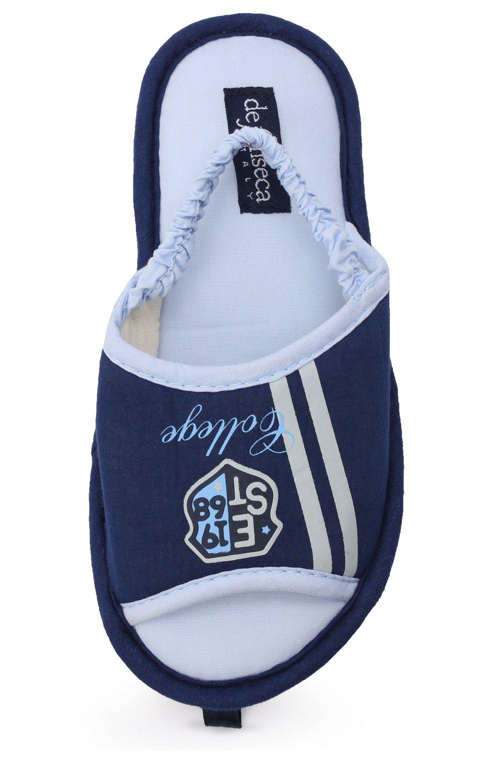 Детского текстильная домашняя обувь DE FONSECA синего цвета, арт. BARI K501RU   Фото 4 (Кросс-КТ: тапочки; Статус проверки: Проверено, Проверена категория)