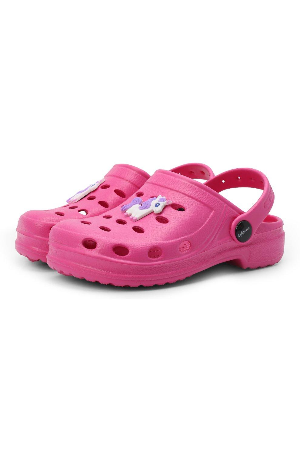 Детского домашняя обувь DE FONSECA фуксия цвета, арт. ANCONA G503RU | Фото 1 (Материал внешний: Экокожа; Кросс-КТ: тапочки; Статус проверки: Проверено, Проверена категория)