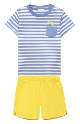 Детский комплект из футболки и шорт IL GUFO желтого цвета, арт. P19DP289M1067/3M-9M | Фото 1