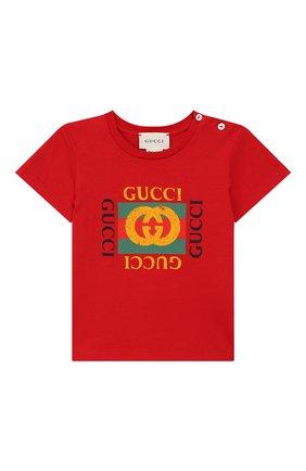 Детский хлопковая футболка GUCCI красного цвета, арт. 497845/X3L91 | Фото 1