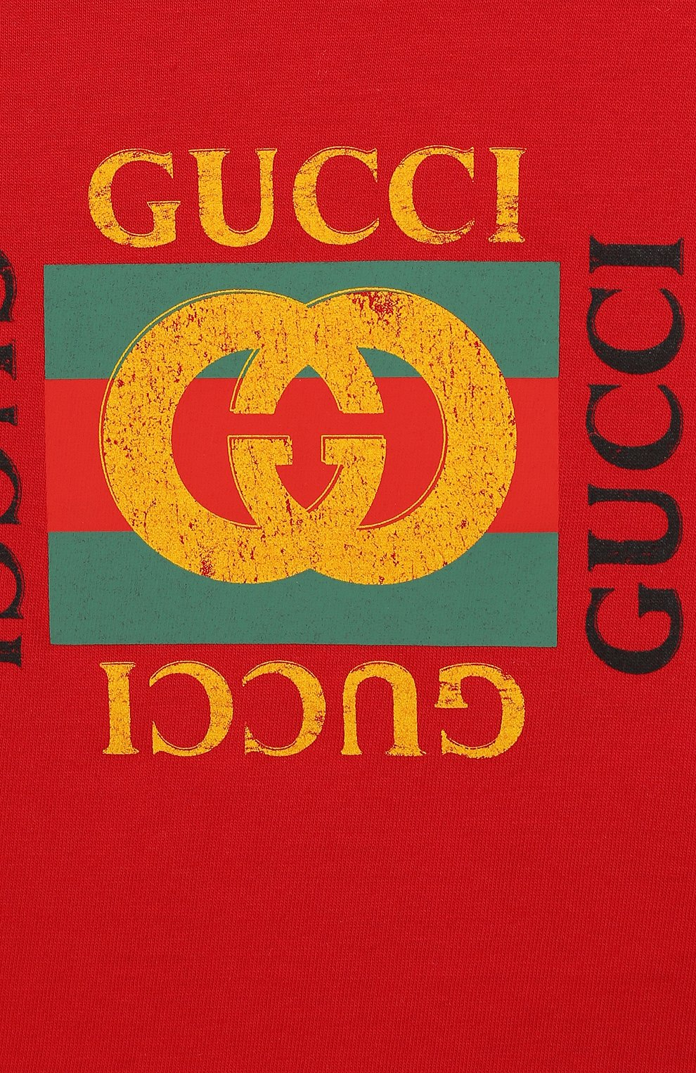 Детский хлопковая футболка GUCCI красного цвета, арт. 497845/X3L91 | Фото 3