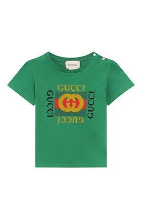 Детский хлопковая футболка GUCCI зеленого цвета, арт. 497845/X3L91 | Фото 1