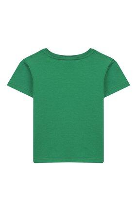 Детский хлопковая футболка GUCCI зеленого цвета, арт. 497845/X3L91 | Фото 2