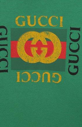 Детский хлопковая футболка GUCCI зеленого цвета, арт. 497845/X3L91 | Фото 3