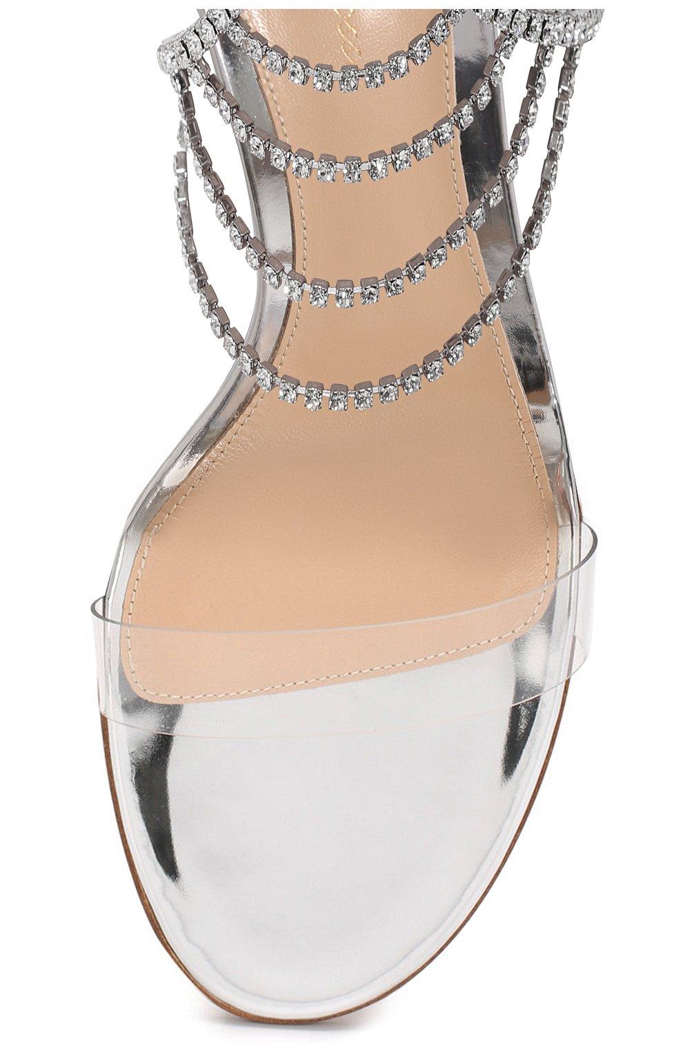 Женские кожаные босоножки nadja 105 GIANVITO ROSSI серебряного цвета, арт. G61381.15RIC.PLMTRAR | Фото 5