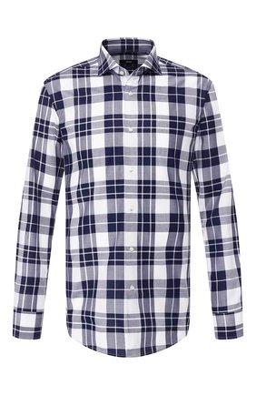 Мужская хлопковая рубашка BOSS темно-синего цвета, арт. 50410347   Фото 1