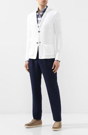 Мужская хлопковая рубашка BOSS темно-синего цвета, арт. 50410347   Фото 2