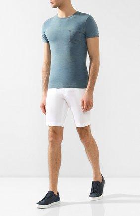 Мужская хлопковая футболка RRL синего цвета, арт. 782504861 | Фото 2