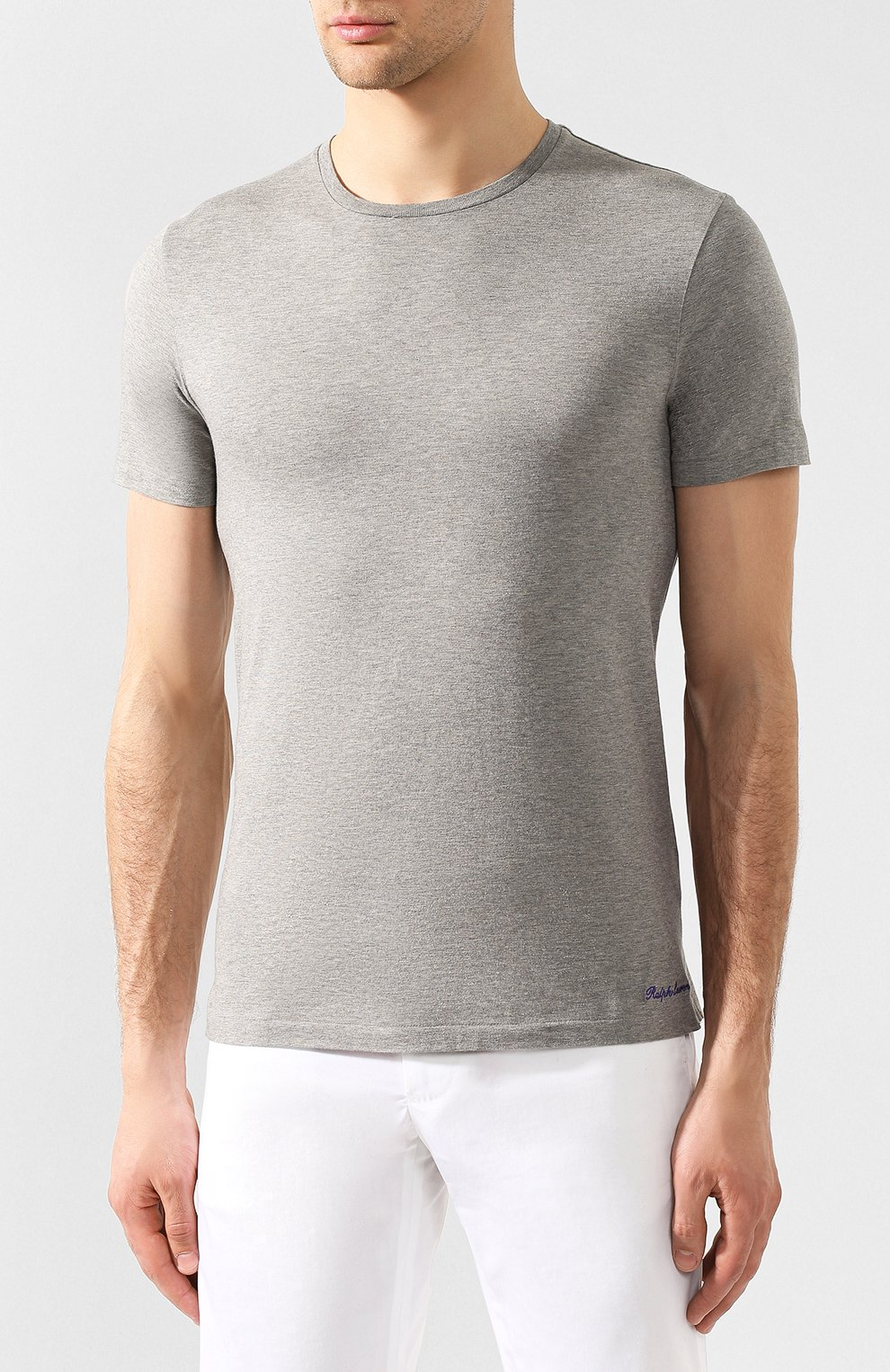 Мужская хлопковая футболка RALPH LAUREN серого цвета, арт. 790508153   Фото 3