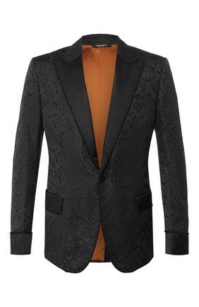 Мужской пиджак DOLCE & GABBANA черного цвета, арт. G2LX6T/FJM4E   Фото 1