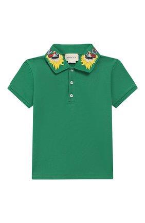 Детский хлопковое поло GUCCI зеленого цвета, арт. 546970/XJAGR | Фото 1