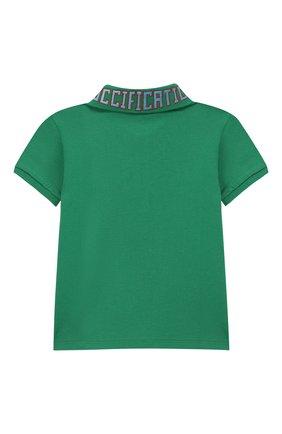 Детский хлопковое поло GUCCI зеленого цвета, арт. 546970/XJAGR | Фото 2