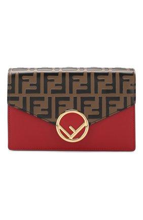 Кожаная сумка Fendi красная цвета | Фото №1