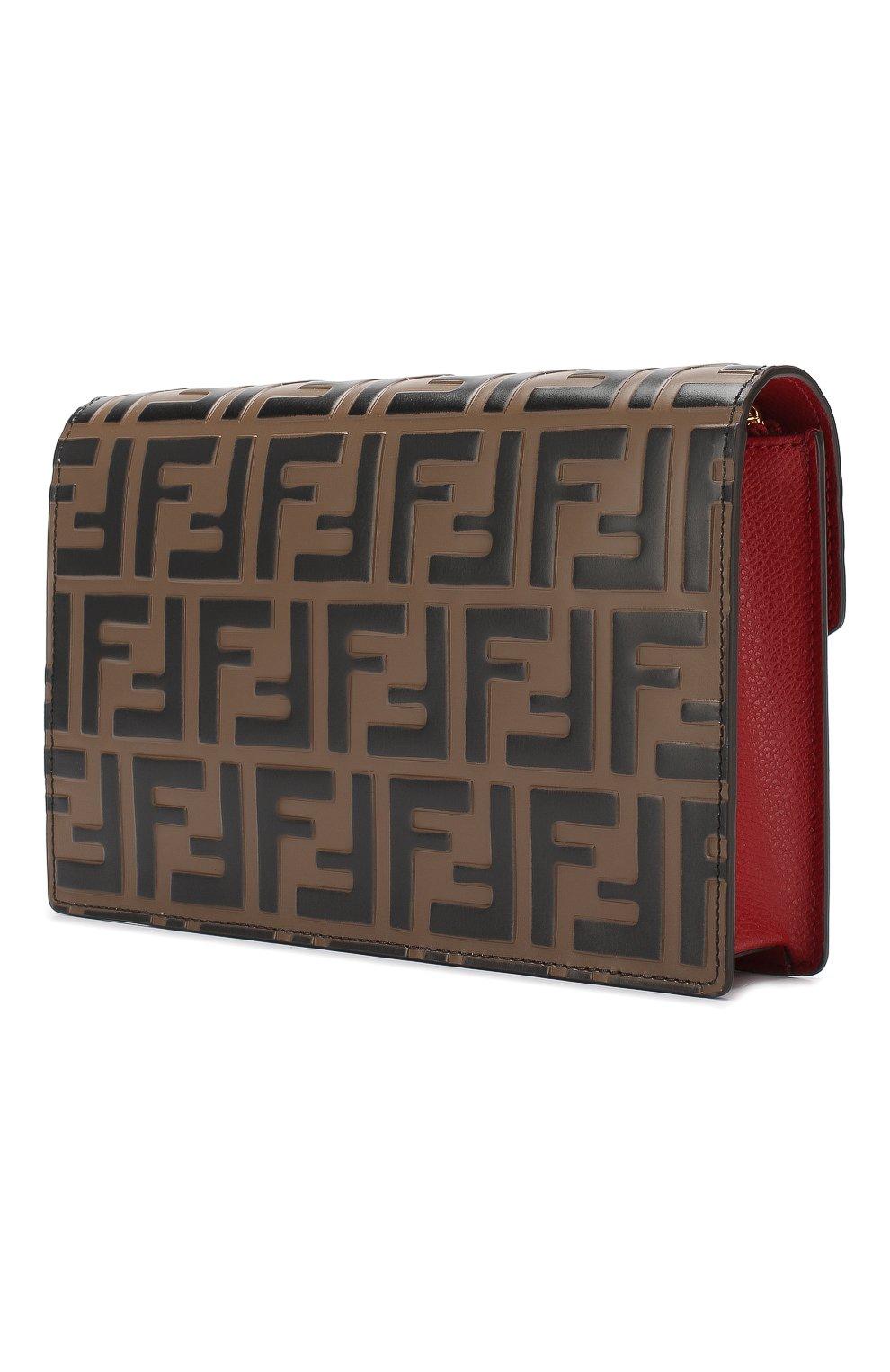 Кожаная сумка Fendi красная цвета | Фото №3