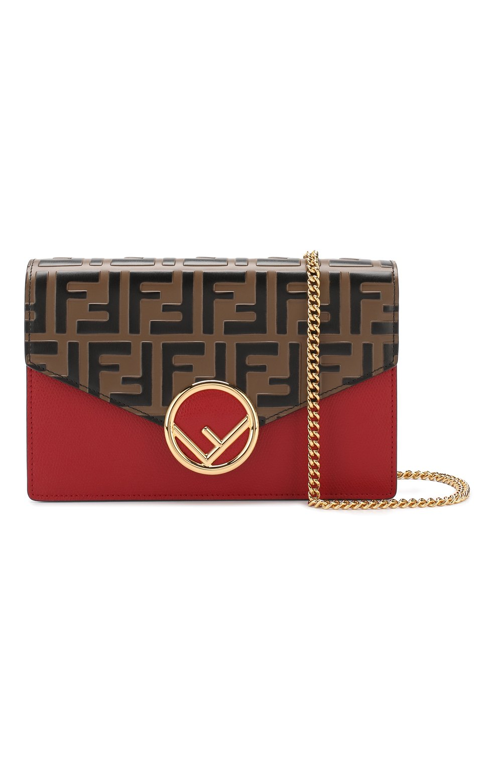 Кожаная сумка Fendi красная цвета | Фото №5