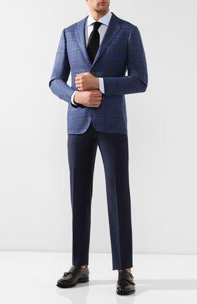 Мужская хлопковая сорочка с воротником кент ZILLI голубого цвета, арт. MFR-01703-MERCU/RZ01 | Фото 2