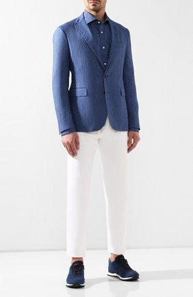 Мужская льняная рубашка RALPH LAUREN синего цвета, арт. 791750046 | Фото 2