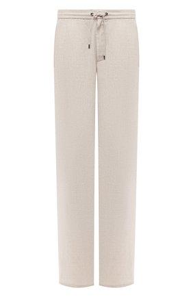 Мужской льняные брюки BRIONI бежевого цвета, арт. RPMJ0M/P6114/NEWJAMAICA | Фото 1