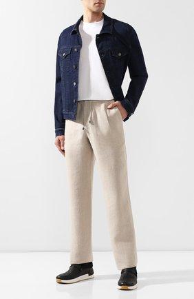 Мужской льняные брюки BRIONI бежевого цвета, арт. RPMJ0M/P6114/NEWJAMAICA | Фото 2