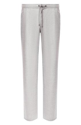 Мужской брюки из смеси шерсти и шелка BRIONI серого цвета, арт. RPMJ0P/P6A1X/NEWJAMAICA   Фото 1