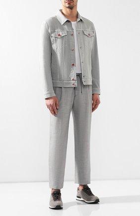 Мужской брюки из смеси шерсти и шелка BRIONI серого цвета, арт. RPMJ0P/P6A1X/NEWJAMAICA   Фото 2