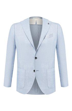 Пиджак из смеси шерсти и льна Sartoria Latorre голубой   Фото №1