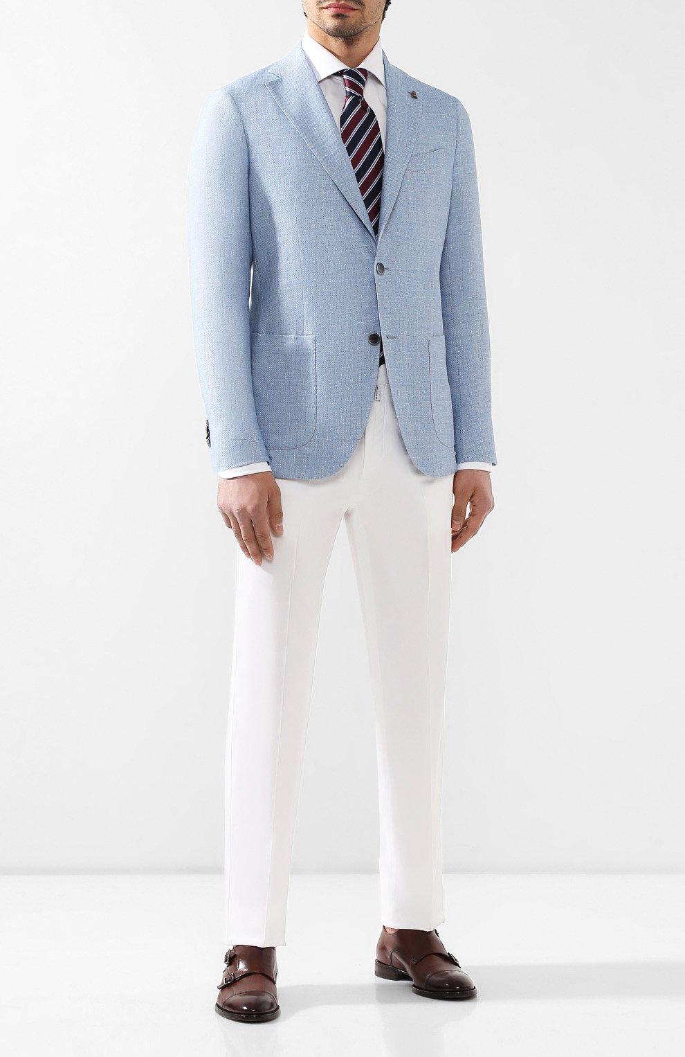 Пиджак из смеси шерсти и льна Sartoria Latorre голубой   Фото №2